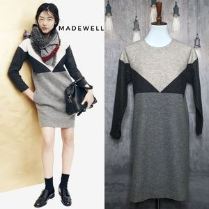 Madewell Geo-Tilt Colorblock shift dress in Gray